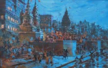 Sandeep Chhatraband | Acrylic Painting title Banaras Ghat 21 on Canvas