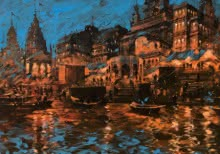 art, beauty, painting, canvas, acrylic, banaras ghat, evening
