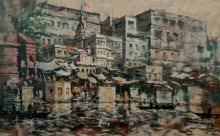 Sandeep Chhatraband | Acrylic Painting title Banaras Ghat 38 on Canvas