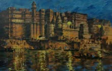 Sandeep Chhatraband | Acrylic Painting title Banaras Ghat 18 on Canvas