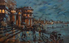 Sandeep Chhatraband | Acrylic Painting title Banaras Ghat 32 on Canvas