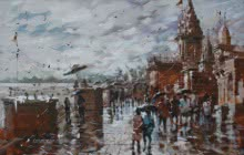 Sandeep Chhatraband | Acrylic Painting title Banaras Ghat 25 on Canvas