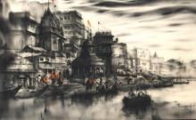 Cityscape Acrylic Art Painting title 'Banaras Ghat 42' by artist Sandeep Chhatraband