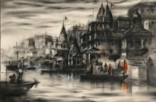 Cityscape Acrylic Art Painting title 'Banaras Ghat 43' by artist Sandeep Chhatraband