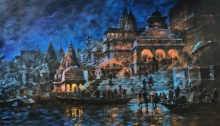 Cityscape Acrylic Art Painting title 'Banaras Ghat 45' by artist Sandeep Chhatraband