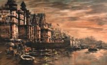 Cityscape Acrylic Art Painting title 'Banaras Ghat 50' by artist Sandeep Chhatraband
