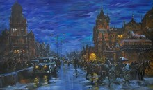 Cityscape Acrylic Art Painting title Cityscape 1 by artist Sandeep Chhatraband