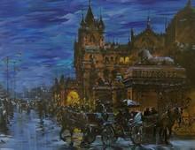 Cityscape Acrylic Art Painting title Cityscape 2 by artist Sandeep Chhatraband