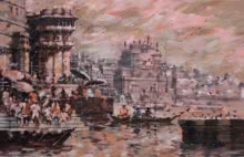 Sandeep Chhatraband | Acrylic Painting title Banaras Ghat 26 on Canvas
