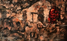 Religious Acrylic Art Painting title 'Ganesha' by artist Sandeep Chhatraband