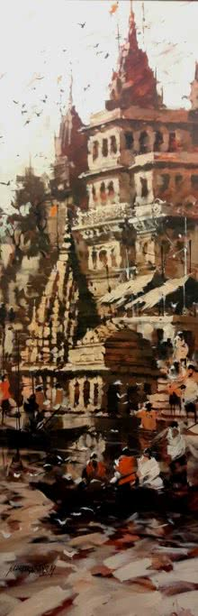 Sandeep Chhatraband | Acrylic Painting title Banaras Ghat 6 on Canvas