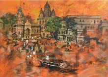 Sandeep Chhatraband | Acrylic Painting title Banaras Ghat 1 on Canvas