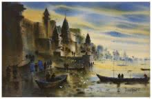 Sandeep Chhatraband | Acrylic Painting title Banaras Ghat 10 on Canvas