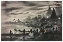 Sandeep Chhatraband | Acrylic Painting title Banaras Ghat 9 on Canvas
