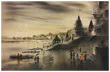 Sandeep Chhatraband | Acrylic Painting title Banaras Ghat 8 on Canvas