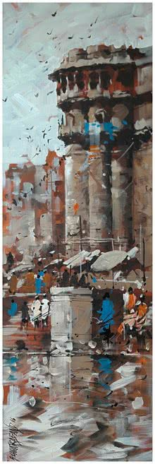 Sandeep Chhatraband | Acrylic Painting title Banaras Ghat 20 on Canvas