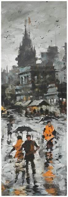 Sandeep Chhatraband | Acrylic Painting title Banaras Ghat 17 on Canvas