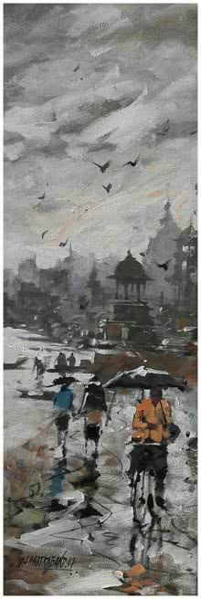 Sandeep Chhatraband | Acrylic Painting title Banaras Ghat 12 on Canvas