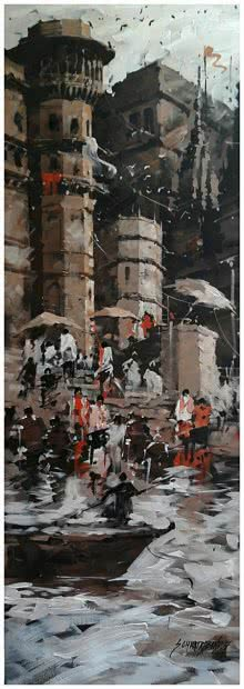 Sandeep Chhatraband | Acrylic Painting title Banaras Ghat 7 on Canvas