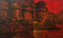 art, painting, acrylic, canvas, cityscape, kashi