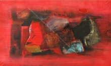 Abstract Mixed-media Art Painting title 'Untitled 4' by artist Somanth Adamane