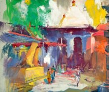 Nature Postercolor Art Painting title Temple II by artist Sikandar Mulla