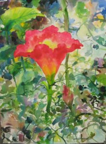 Nature Watercolor Art Painting title Red Lily In Nature by artist Manas Biswas
