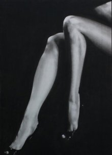 Nude Charcoal Art Drawing title 'Sexy Legs Of Lady' by artist NILESH GAVALE