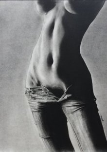 Nude Charcoal Art Drawing title 'Beauty OF Jeans Effect' by artist NILESH GAVALE