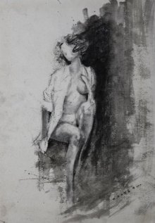 Nude Charcoal Art Drawing title 'Nude Sitting On A Rock' by artist NILESH GAVALE