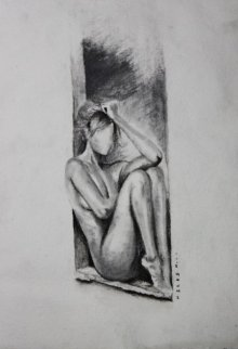 Nude Charcoal Art Drawing title 'Nude Women In Deep Thoughts' by artist NILESH GAVALE