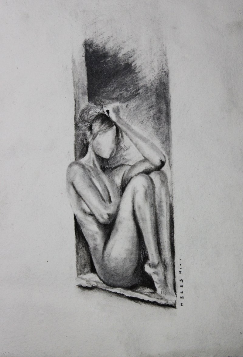Nude women in deep thoughts drawing by artist nilesh gavale charcoal paper