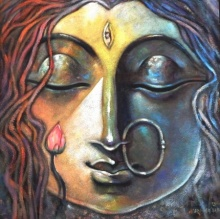 Religious Acrylic Art Painting title 'Devi 2' by artist Subrata Ghosh