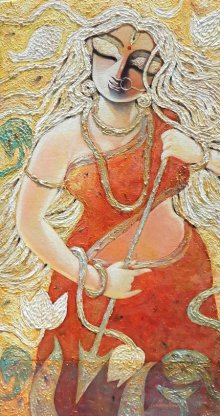 Figurative Acrylic Art Painting title 'Krrooraa' by artist Subrata Ghosh