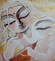 Figurative Acrylic Art Painting title 'Maaacrylic On Canvas 18x20 Inch2015rs 45' by artist Subrata Ghosh