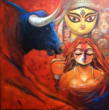 Religious Acrylic Art Painting title 'Shakti 2' by artist Subrata Ghosh