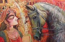 Figurative Acrylic Art Painting title 'The Queen' by artist Subrata Ghosh