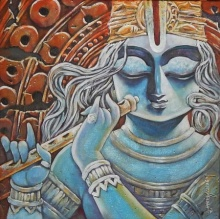Religious Acrylic Art Painting title Tirupati by artist Subrata Ghosh
