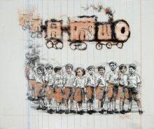 Figurative Acrylic Art Painting title 'Tren' by artist Manoj Sakale