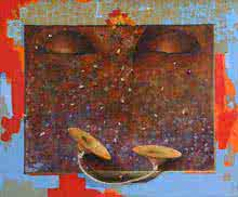 Figurative Acrylic-oil Art Painting title Worship by artist Nitin Marde