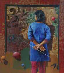 Figurative Acrylic-oil Art Painting title Golden Memories by artist Nitin Marde