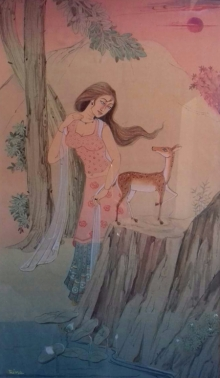 Figurative Watercolor Art Painting title Friend 2 by artist Rina Roy