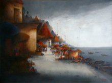 Landscape Acrylic Art Painting title Banaras Ghat 1 by artist Parag Adhikari