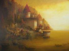 Landscape Acrylic Art Painting title Evening veiw of Banaras Ghat by artist Parag Adhikari