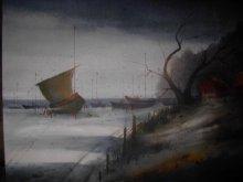 Landscape Acrylic Art Painting title Sailing by artist Parag Adhikari