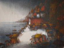 Landscape Acrylic Art Painting title Banaras Ghat by artist Parag Adhikari