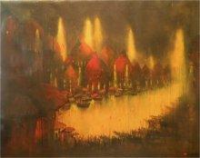 Landscape Acrylic Art Painting title Ganga Ghat by artist Parag Adhikari