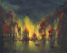 Parag Adhikari | Acrylic Painting title Ganga Ghat on canvas | Artist Parag Adhikari Gallery | ArtZolo.com
