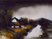 Landscape Acrylic Art Painting title Sweet Home by artist Parag Adhikari