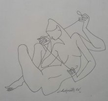 Erotic Ink Art Drawing title 'Untitled 1' by artist Chikmath FV